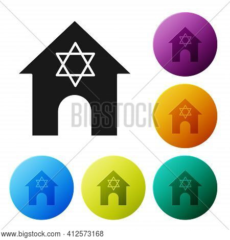 Black Jewish Synagogue Building Or Jewish Temple Icon Isolated On White Background. Hebrew Or Judais