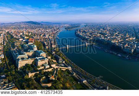 Budapest, Hungary wide panorama photo of Budavára and chainbridge .