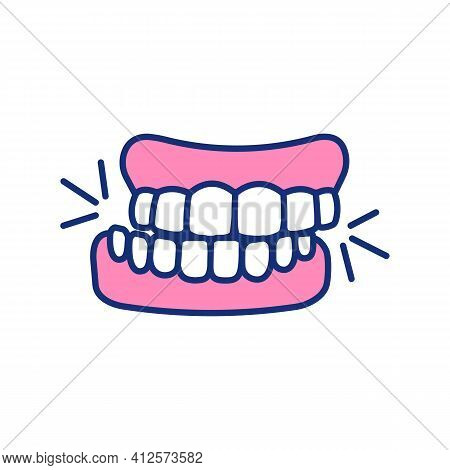 Teeth Grinding Rgb Color Icon. Jaw Involuntary Clenching. Bruxism. Oral Parafunctional Activity. Str