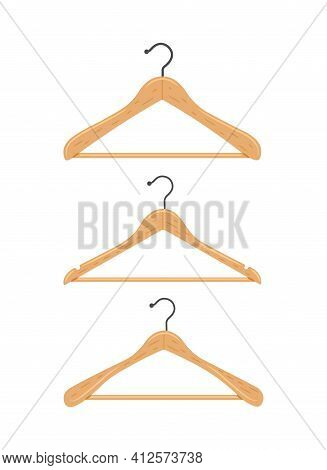 Wooden Clothes Hanger. Clothes Hanger On A White Background. 3 Types Of Hangers. Vector Flat Illustr