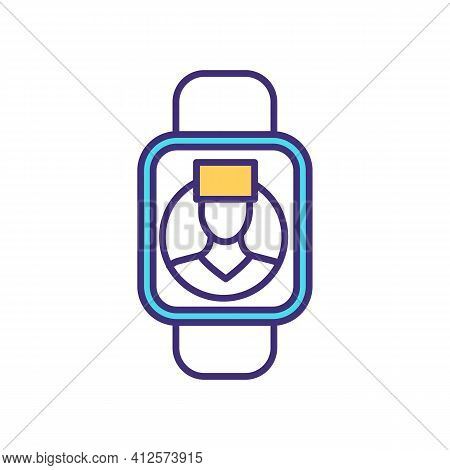 Doctor Connection Through Smartwatch Rgb Color Icon. Easing Patient And Physician Communication Proc