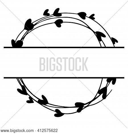 Split Wedding Monogram. Around Frame. Hand Drawn Wreath For Wedding Invitation, Birthday Card, Valen