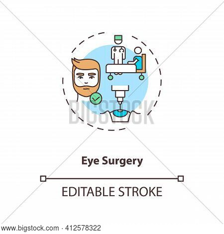 Eye Surgery Concept Icon. Eye Diseases Treatment Methods. Surgery Performed On Eye Or Its Adnexa Ide