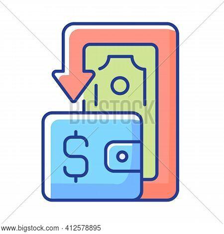 Cashback Rgb Color Icon. Cashback Reward Program. Financial Transactions. Benefits And Refunds. Pric