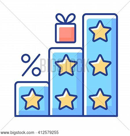More Points And Rewards Rgb Color Icon. Tier Program. Tiered Loyalty Program. Purchasing Things And