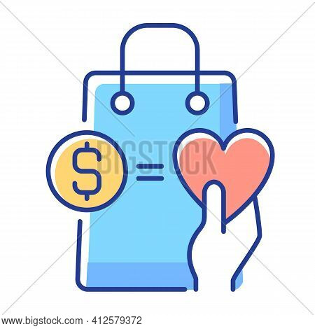 Money From Purchases Going To Charity Rgb Color Icon. Buy And Donate. Charity And Loyalty Programs.