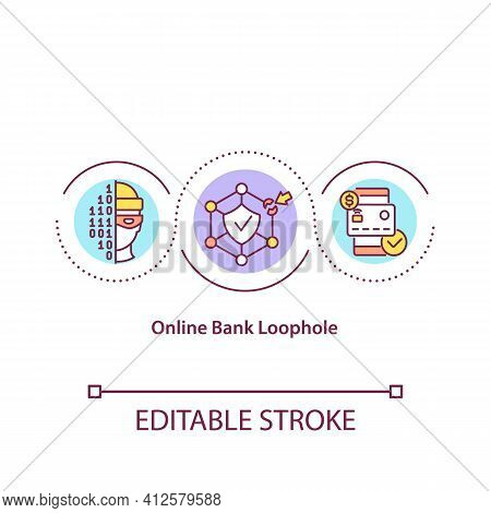 Online Bank Loophole Concept Icon. E-banking And Internet Bank Account Users Idea Thin Line Illustra