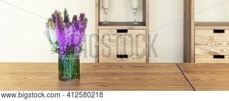 Beautiful Fresh Natural Lilac Purple Liatris Flower Bouquete In Glass Jar On Rural Wooden Table Agai