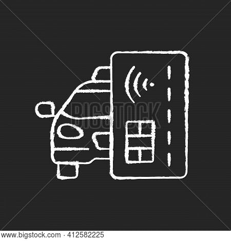 Contactless Payment Chalk White Icon On Black Background. Payment Online. Cashless Payment In Taxi.