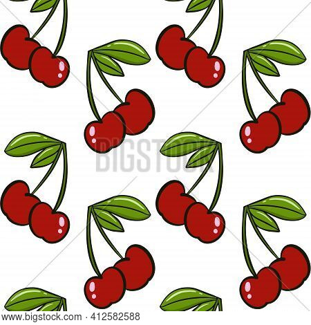 Cherry Seamless Background. Cherries, Red Berries With Leaves On A White Background. A Repeating Con