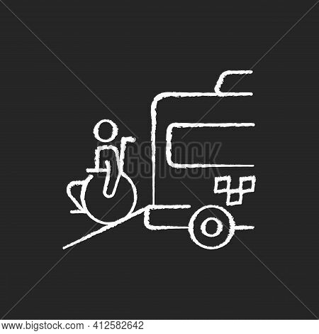 Wheelchair Van Chalk White Icon On Black Background. Accessible Van. Increased Mobility Of People Wi