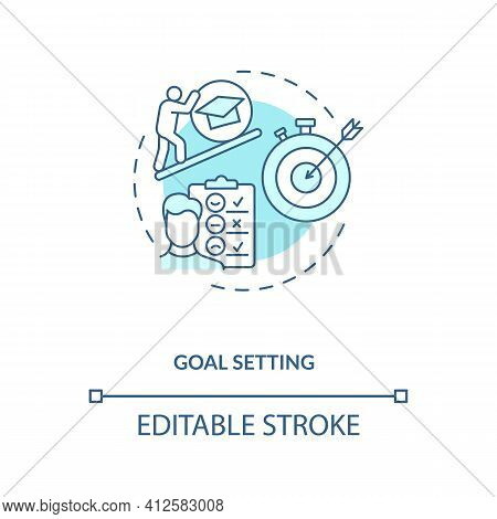 Goal Setting Concept Icon. Personal-development Idea Thin Line Illustration. Action Plan For Motivat