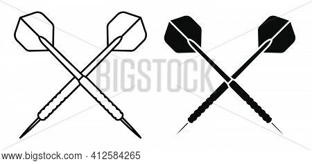 Dart Arrow Icon. Equipment For Sports Competitions Of Darts. Vector