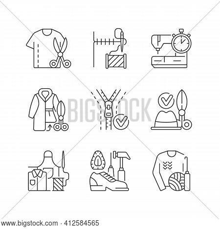 Sewing Linear Icons Set. Resizing Shirts. Needlecraft Workshop. Fur Coat. Zipper Replacement. Custom