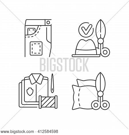 Clothing Alteration Service Linear Icons Set. Denim Pants, Jeans Fixing. Hat And Headwear. Bulk Orde