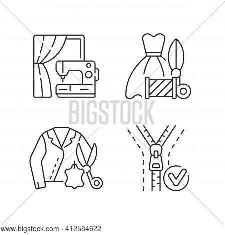 Clothes Repair Service Linear Icons Set. Professional Upholstery. Sewing Machine. Textile Alteration
