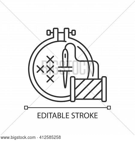 Embroidery Linear Icon. Cross Stitching. Needle With Thread And Spool. Hobby And Craftsmanship. Thin