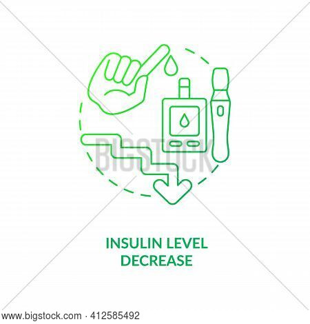 Insulin Level Decrease Dark Green Concept Icon. Health Care. Diabetes Disease Help. Intermittent Fas