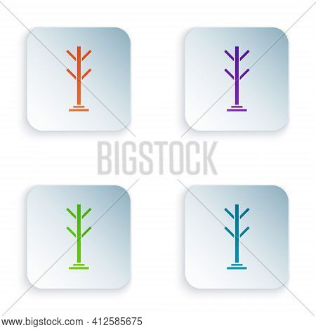 Color Coat Stand Icon Isolated On White Background. Set Colorful Icons In Square Buttons. Vector