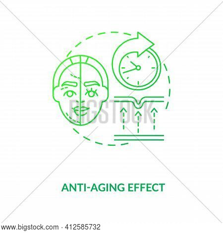 Anti Aging Effect Dark Green Concept Icon. Smooth Skin. Wrinkle Treatment. Cosmetology. Intermittent
