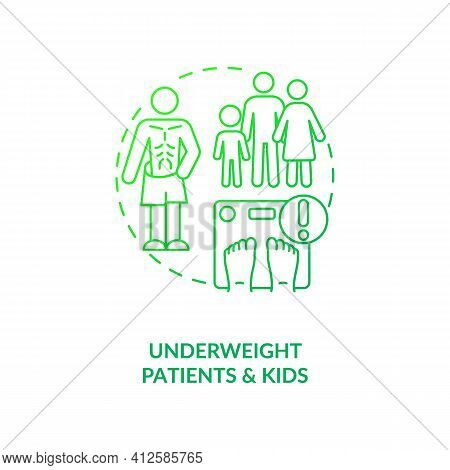 Underweight Patients And Kids Dark Green Concept Icon. Health Problem. Eating Disorder. Intermittent