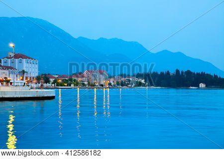 Tivat at dusk, Montenegro. Landscape