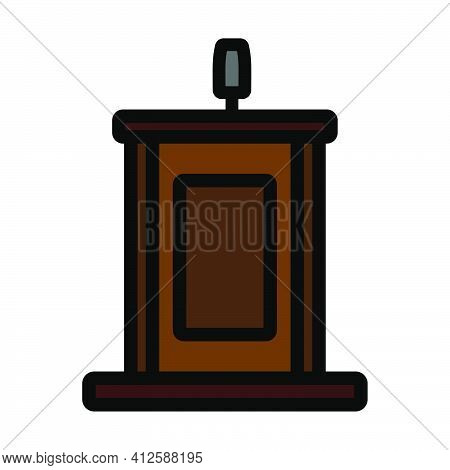 Witness Stand Icon. Editable Thick Outline With Color Fill Design. Vector Illustration.