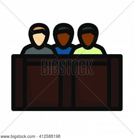 Jury Icon. Editable Thick Outline With Color Fill Design. Vector Illustration.