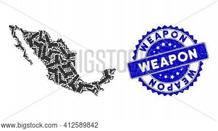 Mexico Collage Map Organized From Pistol Gun Items, And Weapon Scratched Stamp. Vector Pistol Gun Sc