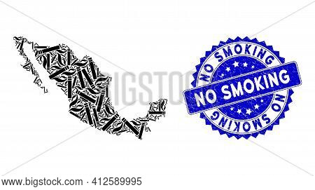Mexico Mosaic Map Combined Of Smoking Cigarette Design Elements, And No Smoking Textured Seal Stamp.