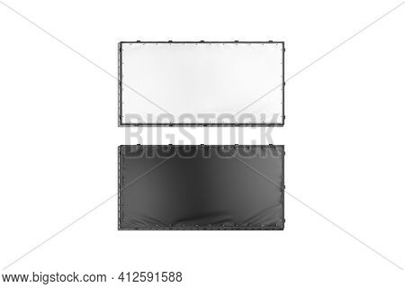 Blank Black And White Rectangle Stretching Banner Grip Frame Mockup, 3d Rendering. Empty Outdoor Com