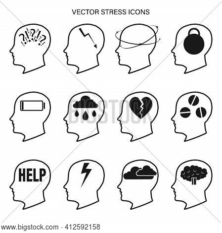 A Set Of Vector Icons Related To Stress And Depression