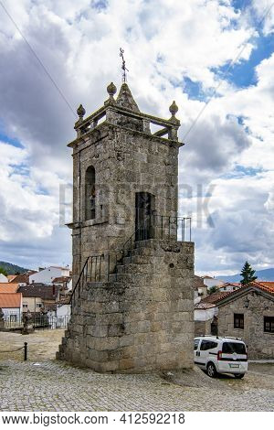 Belmonte, Portugal; May 2017 : Historic Village Of Belmonte Church Of Sao Tiago With Bell In The Tow