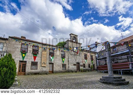 Belmonte, Portugal; May 2017 :decorated Main Square  And Buildings Of Historical Belmonte Village In