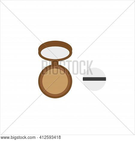 Face Powder In A Brown Package. Vector Illustration. Face Powder.