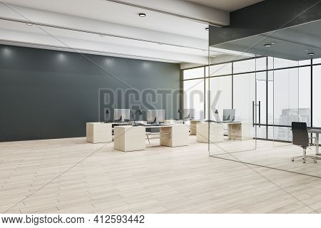 Stylish Open Space Office Interior Design With Black Wall, Wooden Furniture And Floor, Huge Window W