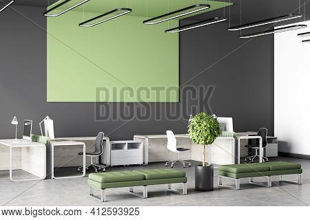 Modern Eco Style Coworking Office Interior With Blank Green Wall, Green Poufs, White Furniture And G