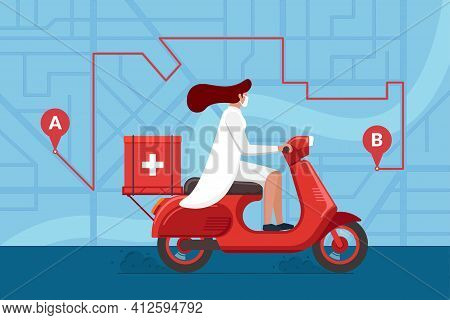 Medicine Motorbike Woman Delivery Pharmacy. Vector Female Doctor In Helmet Riding Retro Scooter With