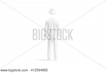 Blank White Chef Uniform Mock Up, Back View, 3d Rendering. Empty Culinary Blanche Costume For Profes