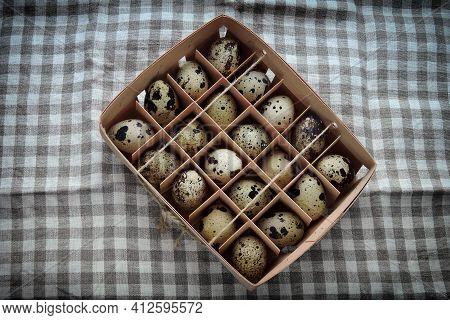 Quail Eggs In A Wooden Tray. Quail Eggs