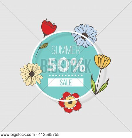 Vector Banner With Doodle Style Flowers And Place For Your Text On White Background. Template For Si
