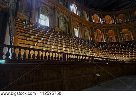 February 2021 Parma, Italy: Wooden Entrance Of The Theatre Teatro Farnese. Interior Of The Theater.