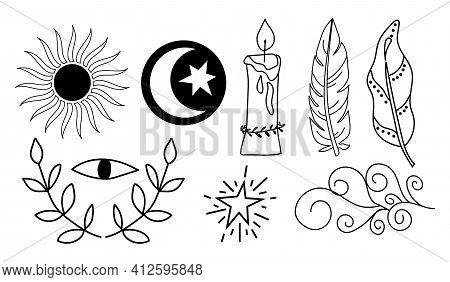 Black Outline Witchcraft Symbols - Sun, Feather, Candle, Eye, Moon And Sun. Vector Magic Illustratio
