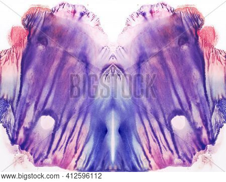 Vivid Symmetric Backdrop. Blue, Violet,purple And Red Watercolor. Abstract Painting.
