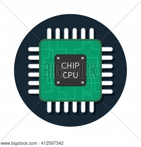 Cpu Chip. Icon Of Microchip. Semiconductor Icon. Processor Of Computer. Illustration For Technology,
