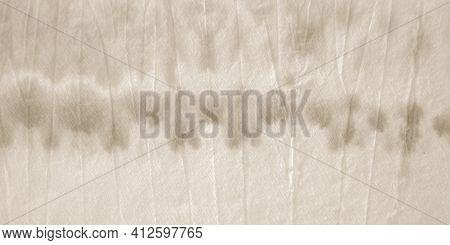 Brown Tie Dye Stripes. Grunge Watercolor Painting. Papyrus Hand Drawn Spots. Stripe Batik Print. Emp