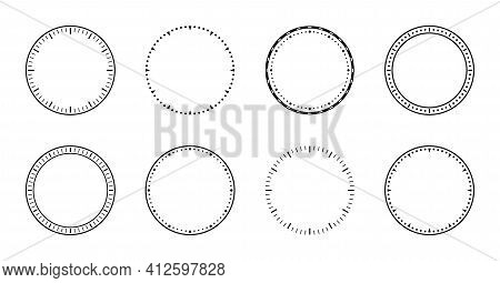 Clock Face. Dial Of Watch. Circles Of Clock Faces For Time. Simple Graphic Icon Isolated On White Ba