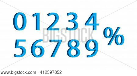 3d Number With Percent. Font Of Number For Advertising And Discount. Icon Of 0, 1, 2, 3, 4, 5, 6, 7,