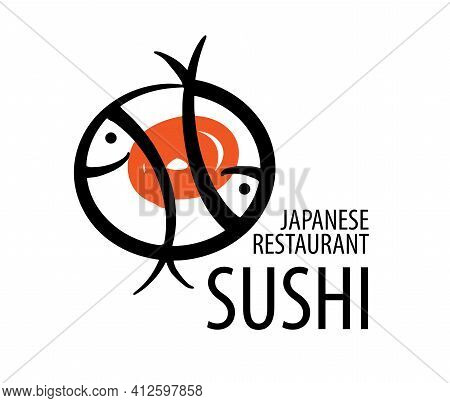 Vector Logo Of Japanese Food On A White Background