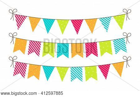 Bunting For Party, Birthday, Carnival And Event. Bright Banners And Flags Of Decoration. Hanging Str